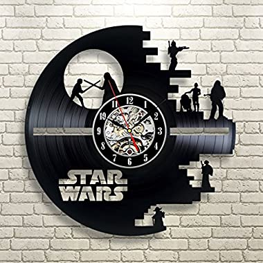 Vinyl Evolution Star Wars Death Star Darth Vader Princess Leia Master Yoda Movie Character Vinyl Record Design Wall Clock