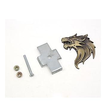Sourcingmap® Bronze Ton Metall 3D Recht Seite Wofl Kopf Schraube Montage  Aufkleber Grill Logo