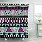 Emvency Shower Curtain Waterproof Decorative Bathroom 66 x 72 inches Southwest American Indian Aztec Ethnic Colorful Pattern Fills Tribal Abstract Arrow Polyester Fabric Set with Hooks