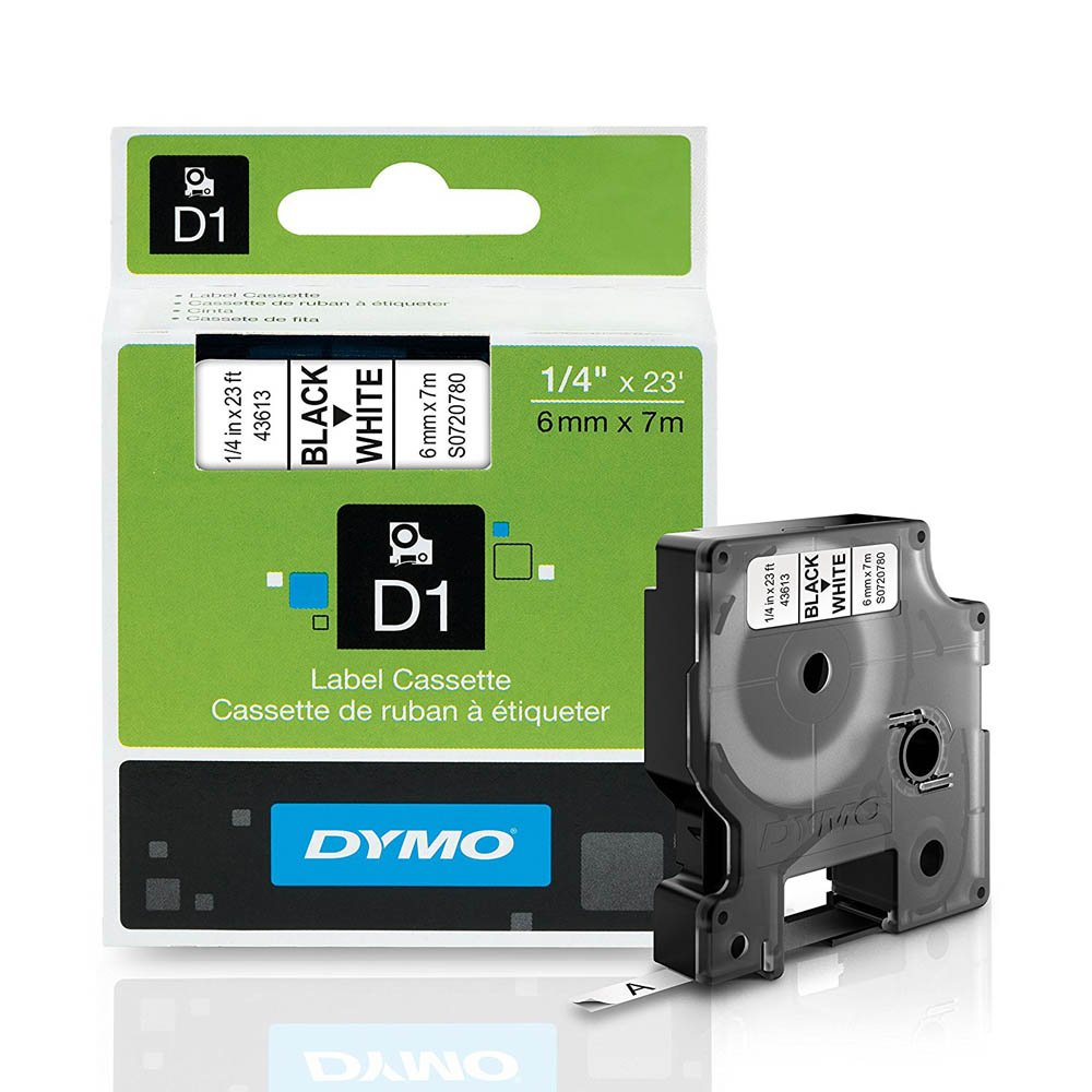 Dymo 43613 D1 High-Performance Tape Cartridge, 1/4'' x 23 ft, Black on White by DYMO (Image #1)