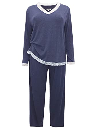 147d129c630 Ex Evans Ladies Lace Trim Pyjama Set Womens PJs Nightwear Lounge Plus Size  Sleeves (14-16)  Amazon.co.uk  Clothing