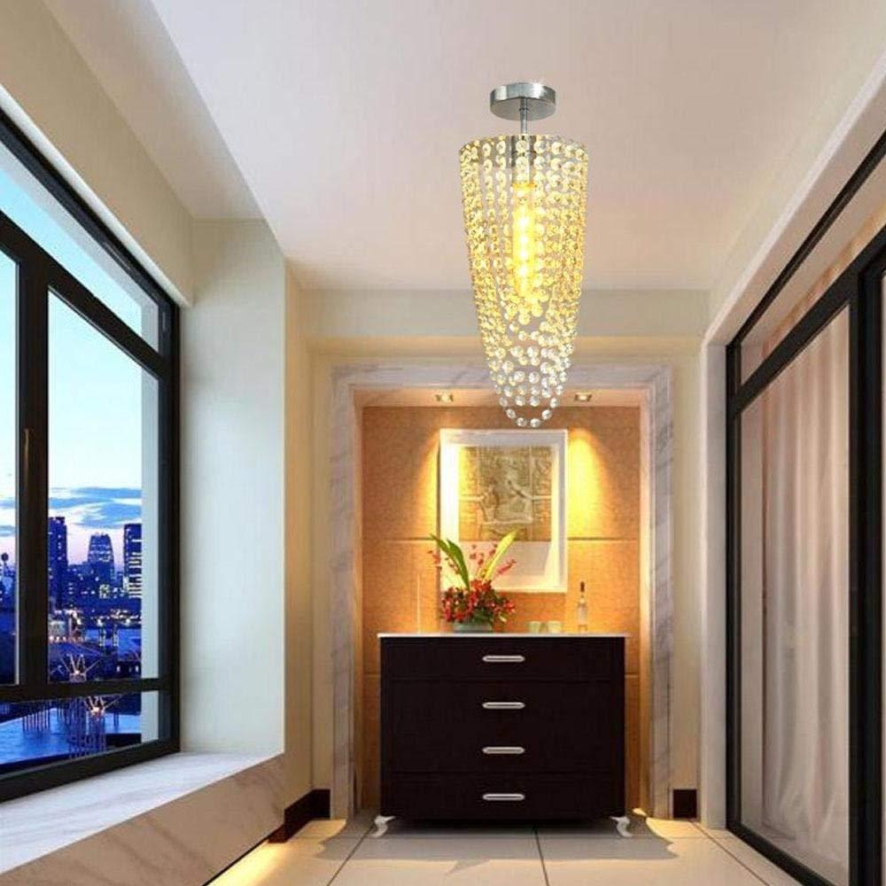 ACZZ K9 Crystal Corridor Deckenleuchte, Deckenleuchte, Metall Chrom, Schlafzimmer, Balkon, Hotel
