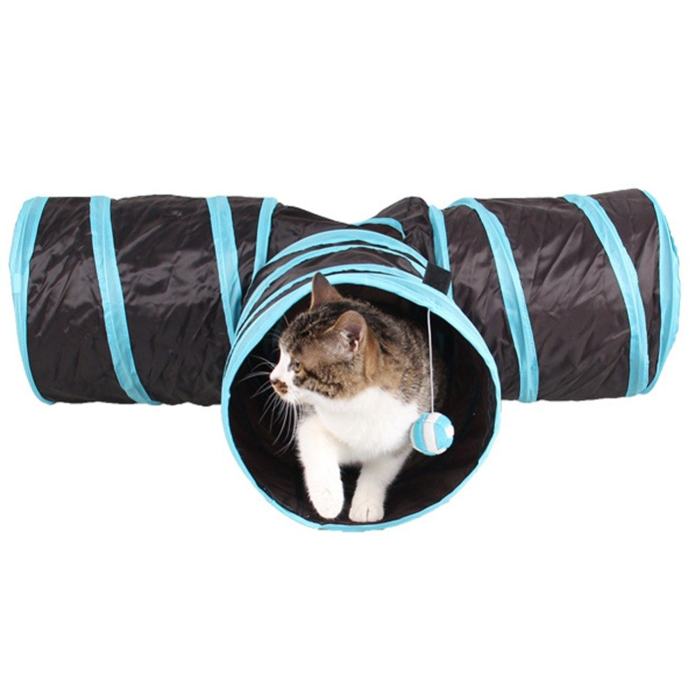 Buildent(TM) Foldable 3 Holes Pet Cat Tunnel Toys Indoor Outdoor Pet Cats Training Toy Kitten Rabbit Funny Cat Tunnel House Toys
