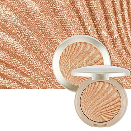 AIKIMUSE Shimmer Metallic Baked Highlighter Face Powder Bronzer Makeup,Light brown,0.63 Ounce