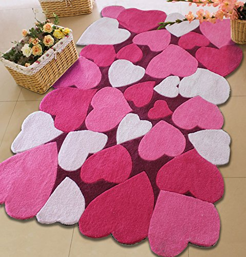 Lovely Pink Kids Rug with Unique Love Heart Design 4' Ft X 6' Ft Hand Tufted on Sale!