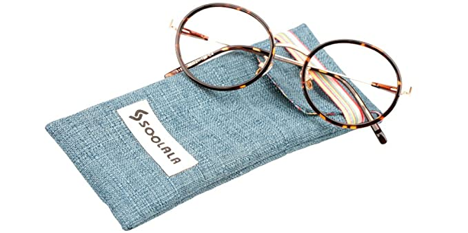 8a7564688a SOOLALA Classic Vintage Round Circle Readers Stylish Reading Glasses Clear  Lens Eyeglasses