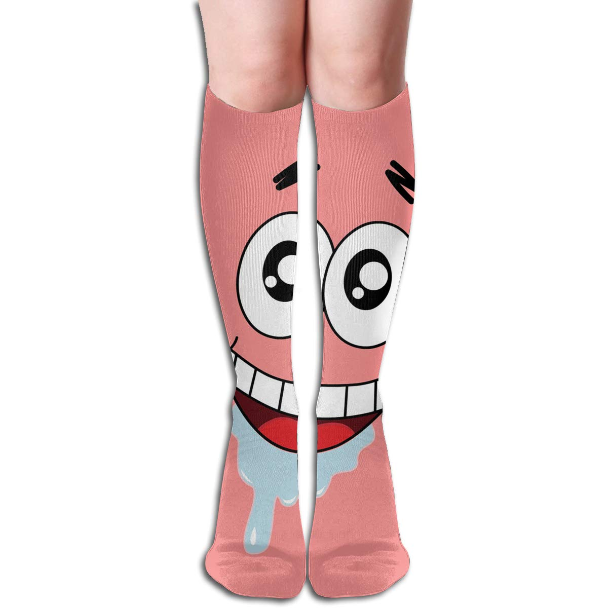 JINUNNU Knee High Socks Spongebob Squarepants Drool Funny Running Socks for Girl Women