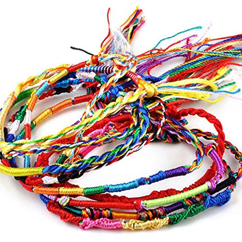 Orcbee  _50Pcs Wholesale Jewelry Lot Braid Strands Friendship Cords Handmade Bracelets