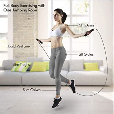 Jump Rope Home Exercise Slim Body Skipping Tangle-Free Rope with Ball Bearings Rapid Speed Cable 2 Pack Ideal Adjustable Jumping Ropes for Fitness Crossfit Training and Boxing