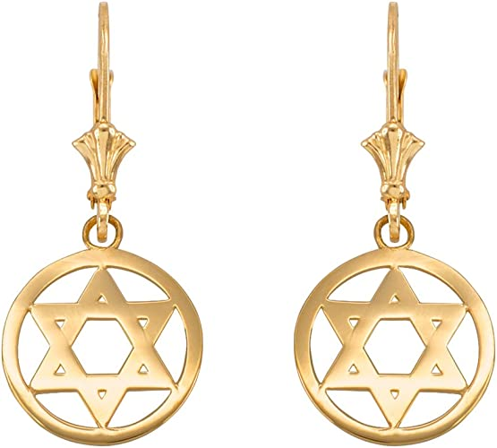 14k Rose Gold Star of David Drop Dangle Leverback Earrings