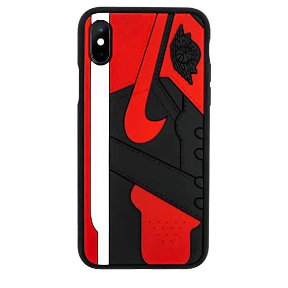 separation shoes 44f9d 5b7fc iPhone Shoe Case, Bred 1s Official 3D Print Textured Shock Absorbing  Protective Sneaker Fashion Case (iPhone 7/8)