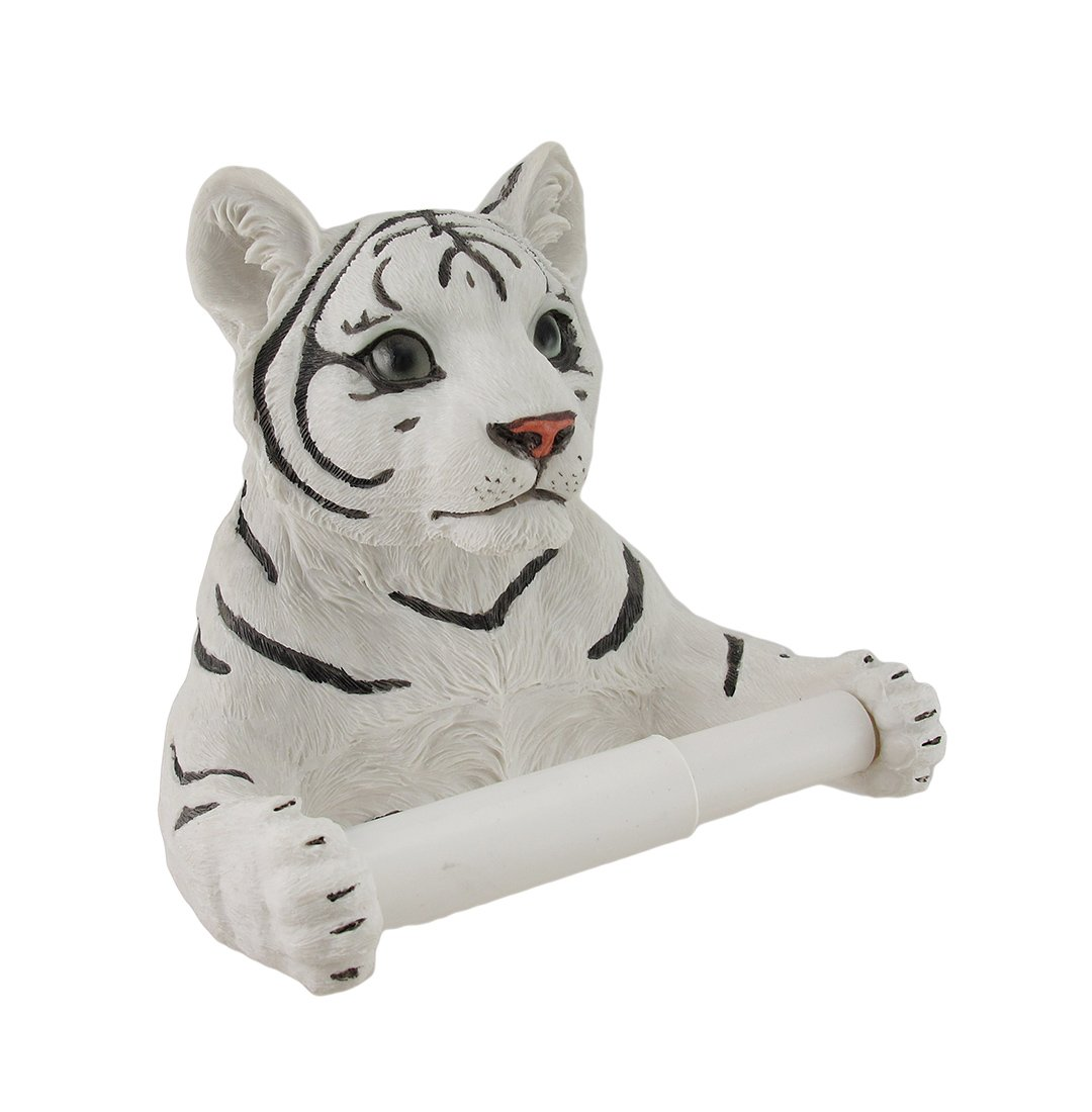White Tiger Sculptured Bath Tissue Holder