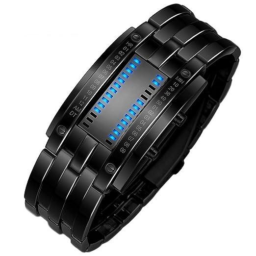 TONSHEN Binario Relojes de Hombre Deportivos Acero Inoxidable Bisel Y Correa Moda Relojes de Pulsera Calendario El Unico Diseño Simple Digitales LED Azul ...