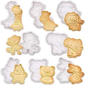 SQHOHO Animal Cookie Cutters 8 Pcs Fondant Cutters Plunger Cookie Stamps, Giraffe, Zebra, Lion, Monkey, Elephant, Hippo, Bear, Rabbit