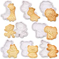 SQHOHO 8Pcs Cartoon Plunger Cookie Cutter Animal Baking Mould Cookie Stamp Biscuit DIY Mold Cake Decorating