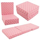 KIDS CHAIRBED - PINK SPOTS Kids Folding Chair Bed Futon Guest Z bed Childrens