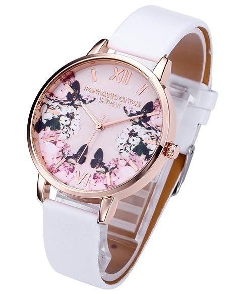e9480fda87 JSDDE Uhren,Modische Schmetterling Blumen Armbanduhr Basel-Stil Damen Uhr  PU Lederband Rosegold Analog