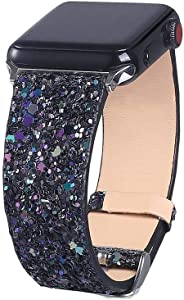 Bling Bands Compatible with Apple Watch Band 38mm 40mm 42mm 44mm Women, Iwatch Strap Shiny Bling Glitter Leather Replacement Wristband for Apple Watch Series 6 5 4 3 2 1 SE Sport Edition (Black)
