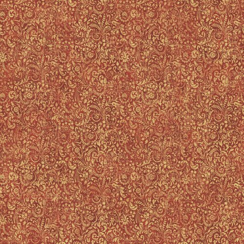 Waverly 5510802 Prelude Damask Wallpaper, Red and Gold, 20.5-Inch