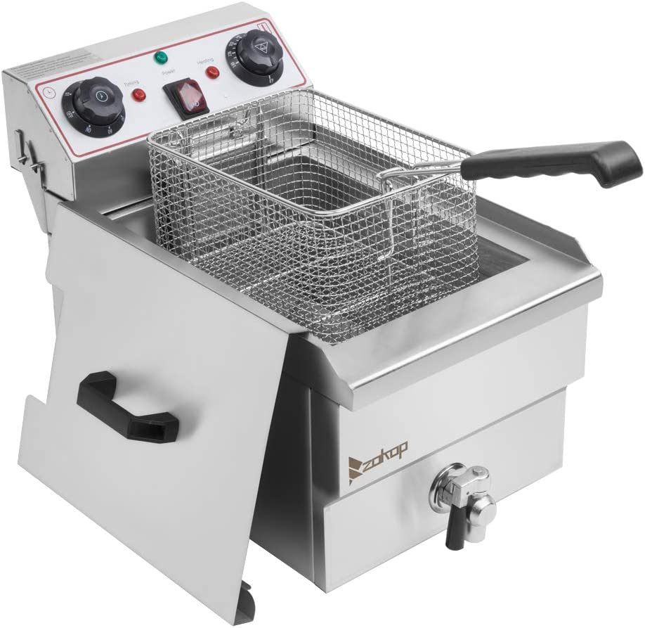 Heavy Duty Electric Stainless Steel Deep Fryer, With Basket (12.5QT / 11.8L Oil Capacity)