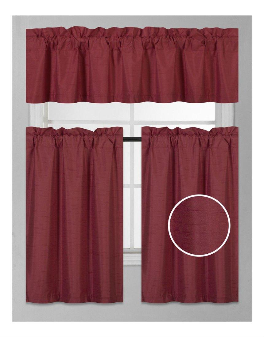 3PC BURGUNDY SET WINDOW DRESSING KITCHEN CURTAIN SOLID LINED BLACKOUT DRAPE TREATMENT K3