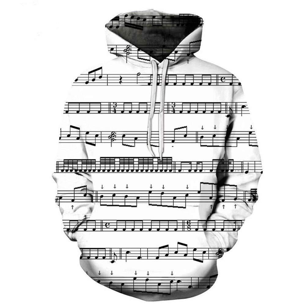 Neue Art und Weise k/ühle Sweatshirt Hoodies M/änner Frauen 3D Print schwarz und wei/ß Noten T-Shirt hei/ß Style Streetwear Langarm