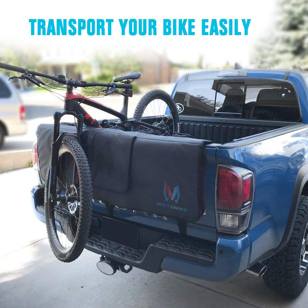 MICTUNING Tailgate Pad for Trunk with Secure Bike Frame Straps Tailgate Protection Pad with Tool Pocket