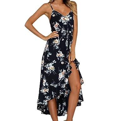 ff106366c mujer Vestido Beladla Vestidos Largo Floral Print Casual Verano para Noche  Fiesta Playa Fiesta Sin Hombro Cuello Redondo Vestido Navidad  Amazon.es   Ropa y ...