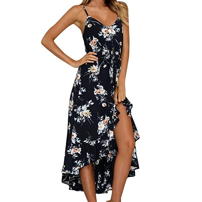Clearance Women Summer Dresses Casual Strappy Floral Beach Boho Sleeveless Party Vintage Short Dress (S