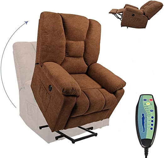 Power Lift Massage Recliner Chair for Elderly with Heat and Massage,Linen Recliners with Remote,8 Positions, 2 Side Pockets and USB Ports,Electric