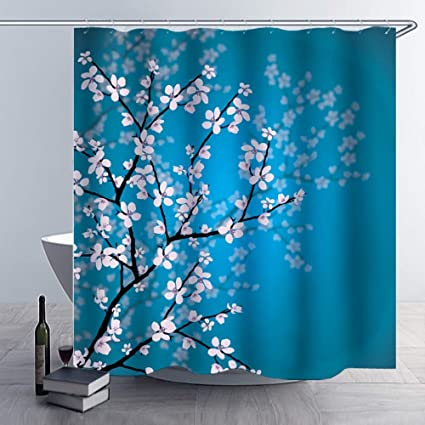 Alicemall 3D Floral Shower Curtain Rustic Pink Flowers In Black Branches Blue Background Waterproof Fabric