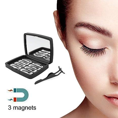 3D Pestañas Postizas Magnéticas Kit Pestañas sin Pegamento Reutilizables con Rizador de Pestañas para Mirada natural (1 Pares/4 Piezas) (2 ...
