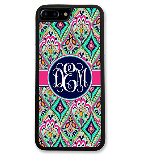 iPhone 7 Case Pretty Floral Jewels With Monogram, Monogrammed Personalized, Hard Rubber iPhone 7 Case (4.7 inch) by Simply Customized (Monogram Jewel)