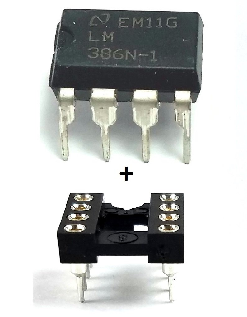 Texas Instruments LM386N-1 IC Audio Power Amplifier & 8-Pin DIP Socket with Machined Contact Pins (Pack of 10)