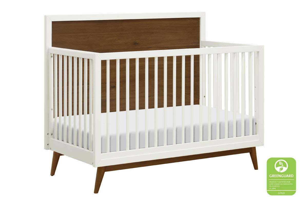 Babyletto Palma 4-in-1 Convertible Crib, White Natural Walnut