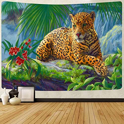 FEASRT Brown Cheetah Tapestry Wild Leopard Tapestry Wall Hanging Tapestries for Home Bedroom Living Room Apartment Dorm Office Decor 80×60 Inches GTLSAY87