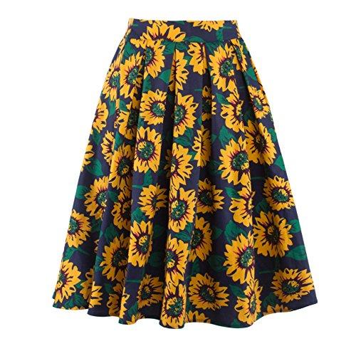 Bafei - Falda - trapecio - para mujer amarillo