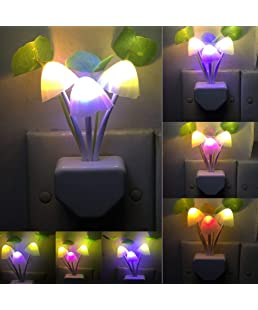 FEDUS Automatic Sensor Mushroom Night Lamp - Multi Color Changing Effect - Work in Dark Place Due to Night Sensor (Assorted Color)