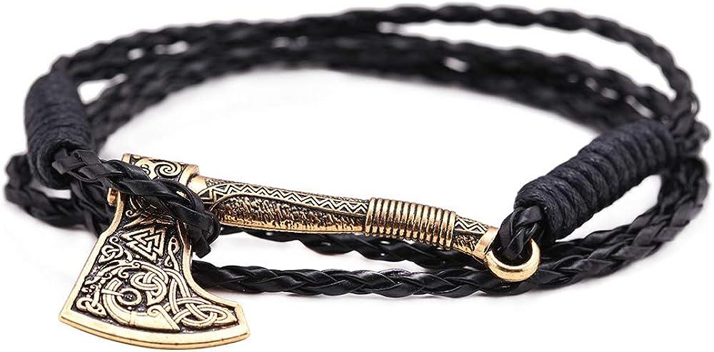 Pulsera gótica vintage de mito nórdico con símbolo de Odín Valknut celta irlandés vikingo, hacha perun, amuleto amuleto para hombre, 7.9 pulgadas