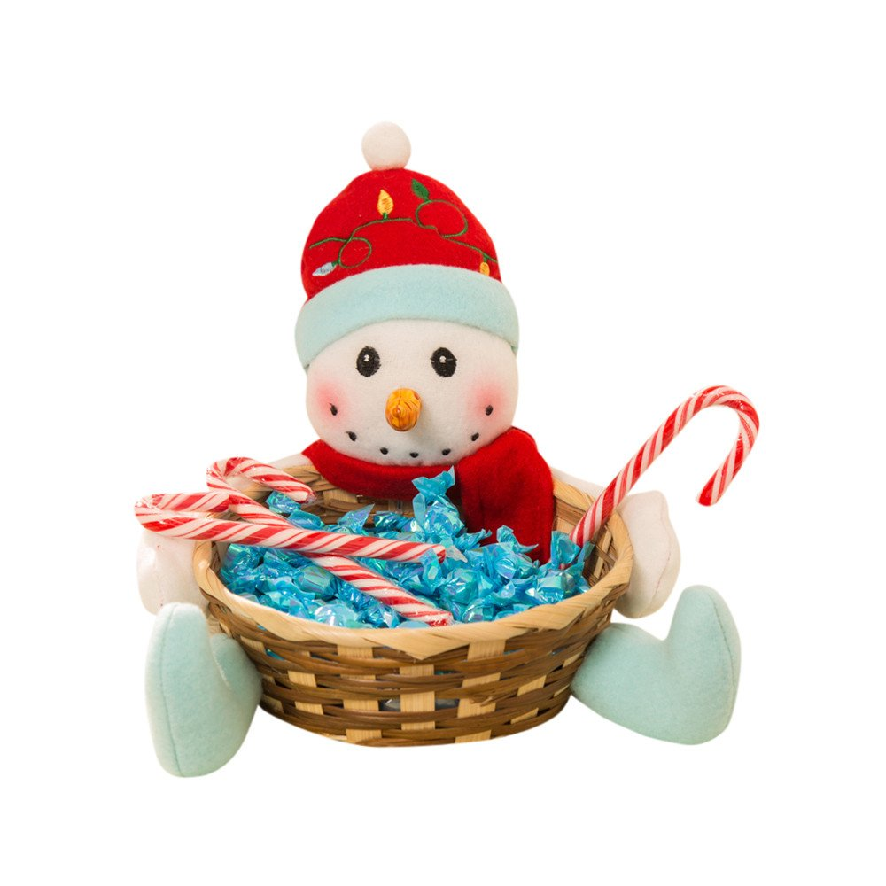 Clearance Christmas Basket! Paymenow Christmas Candy Storage Basket Decoration Santa Claus Storage Basket Gift (A)