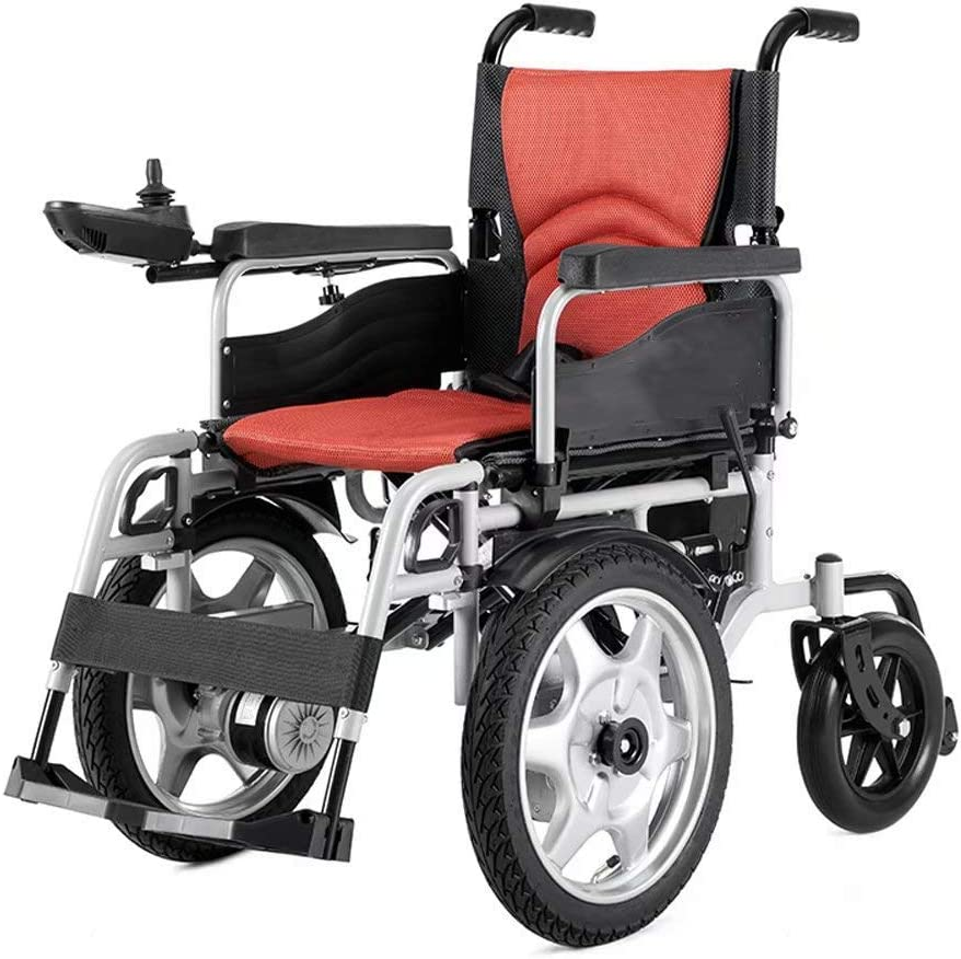 Silla de ruedas eléctrica plegable para adultos mayores discapacitados Batería compacta de iones de litio y silla eléctrica grande Rueda delantera Scooter móvil con alcance de 15 millas,Rojo,12AH