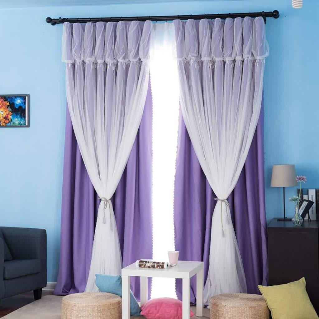王女のカーテン2層不透明、2パネル女の子レース王女風カーテンガーゼシェーディング断熱材寝室用リビングルーム (色 : B, サイズ さいず : 300*270cm) 300*270cm B B07PVGB7B5