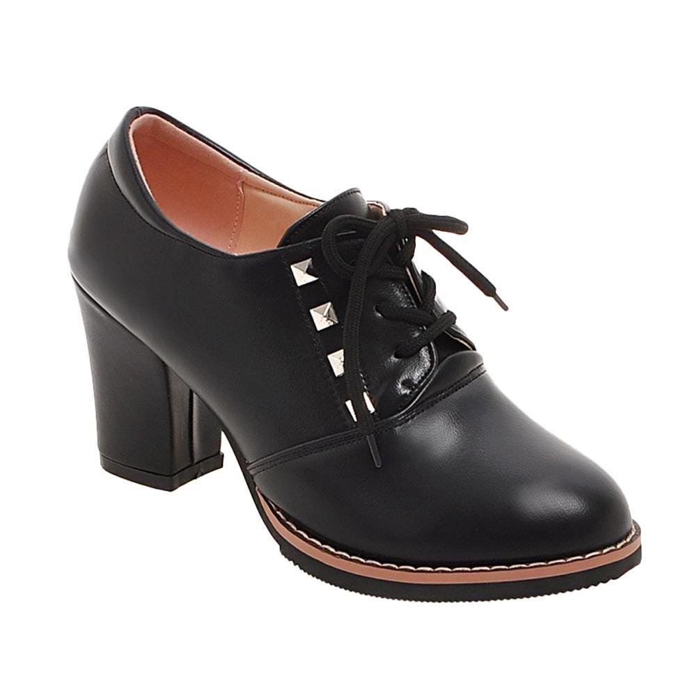 Mee Shoes Damen chunky heels runde kurzschaft Schnuuml;rhalbschuhe40 EU Schwarz