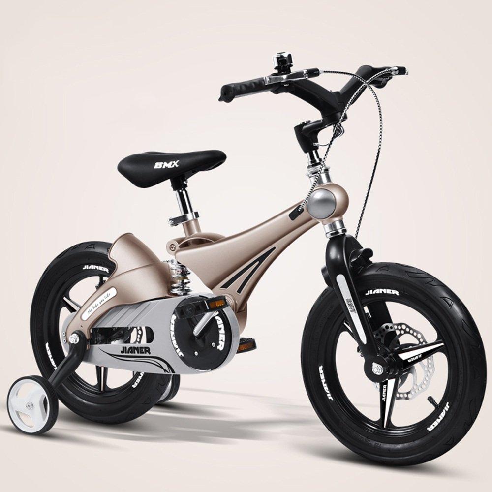 HAIZHEN マウンテンバイク 子供用自転車ベビーカーベビーカーマウンテンバイク子供用自転車マグネシウム合金サスペンションシステム/デュアルディスクブレーキ12インチ、14インチ、16インチ 新生児 B07C3QL1C7 16 inch|ゴールド ゴールド 16 inch