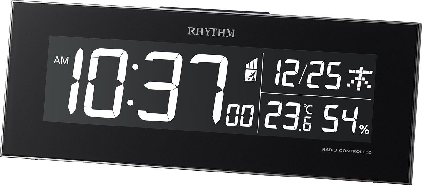 リズム時計 RHYTHM 電波 目覚まし 時計 Iroria イロリア グラデーションLED表示 ブラック 8RZ173SR02 B018HHOOVIブラック