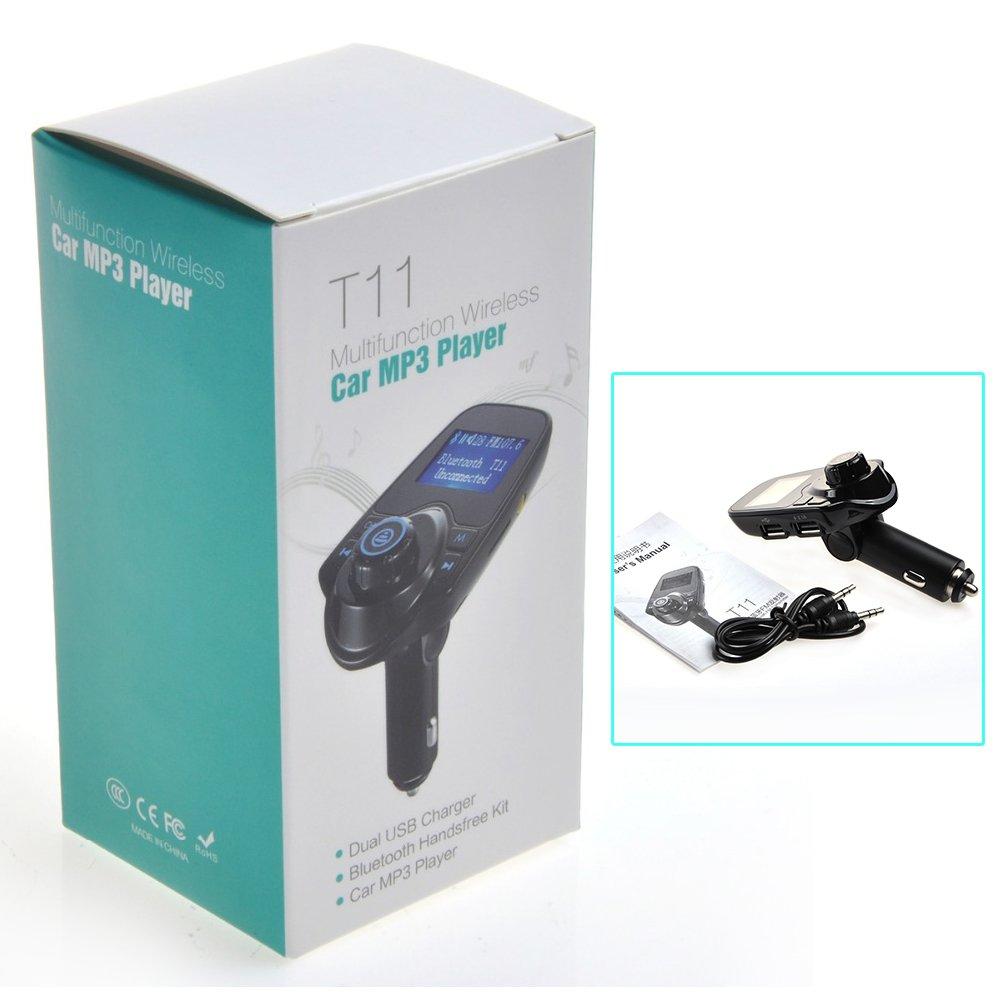 caricabatteria da auto USB Bluetooth T11 Trasmettitore FM 1,44 pollici schermo di visualiz Kit auto lettore mp3 con modalit/¨/¤ multi musica Play Versione aggiornata Trasmettitore FM del vivavoce