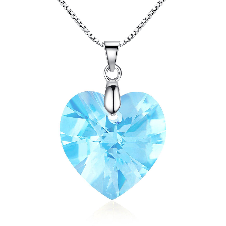 GoSparking Aquamarine azul cristalino del corazón el oro blanco K plateó el