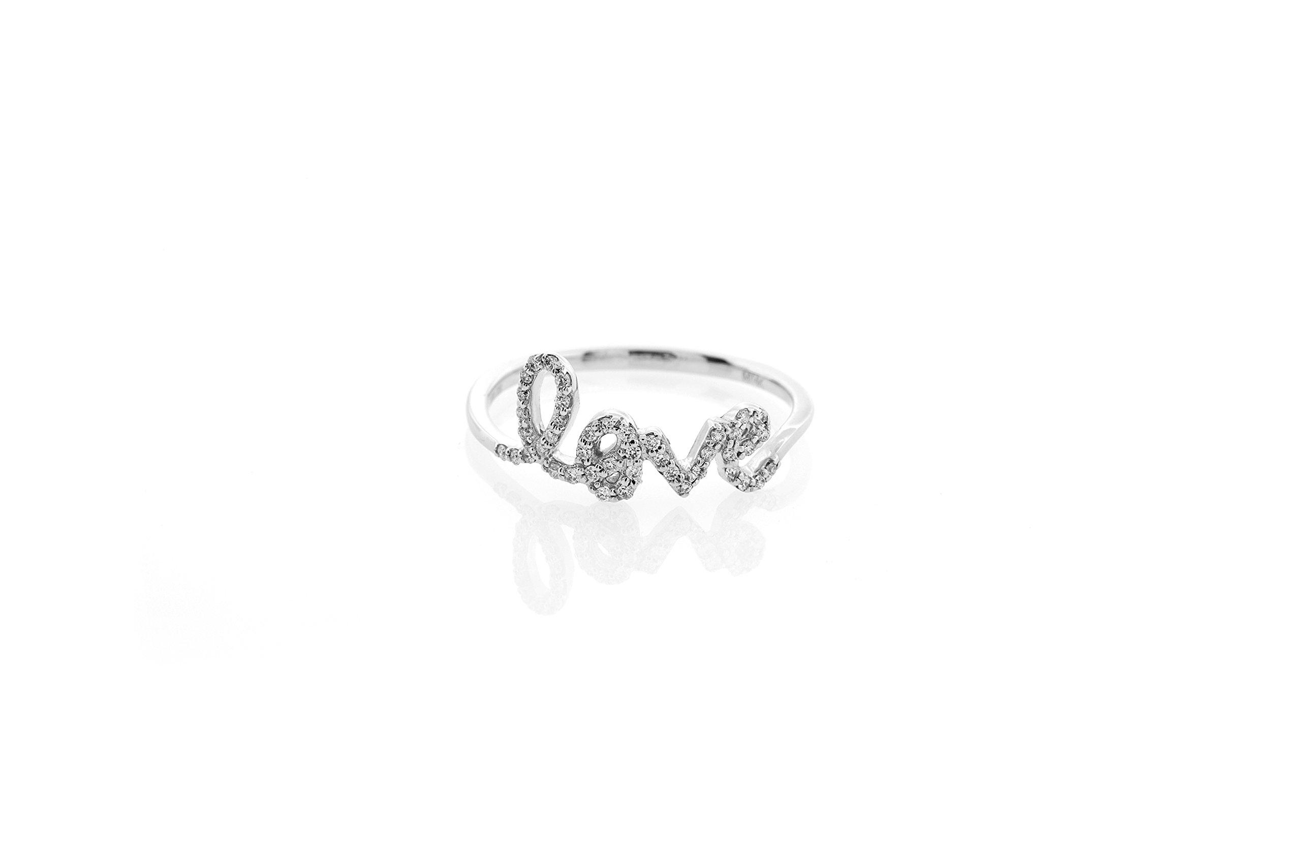 London Fine Jewelry Diamond Cursive ''love'' Ring in 14K White Gold