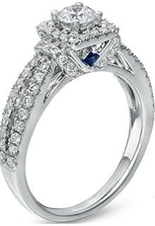 Amazon Com Vera Wang Love 14k White Gold Moissainite Diamond Blue
