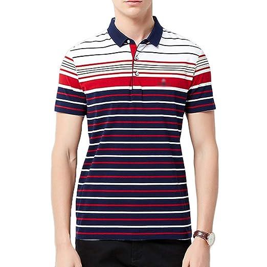 NDHSH Camisa de Polo para Hombre algodón de Raya Manga Corta ...